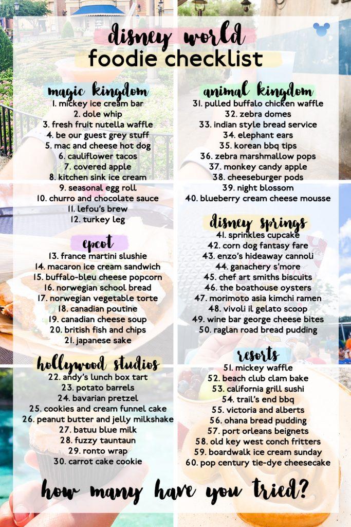 Disney World Foodie Checklist